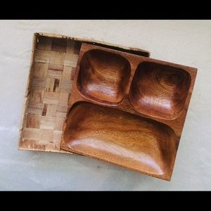 Wooden Snack Bowl with Nesting Basket.